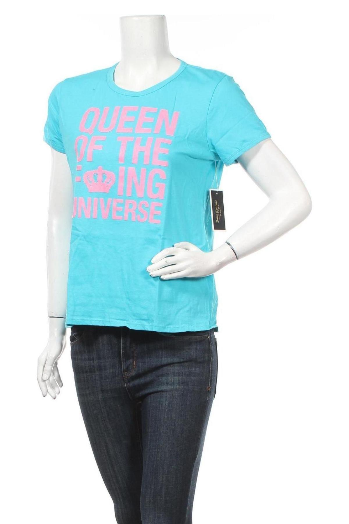 Дамска тениска Juicy Couture, Размер L, Цвят Син, Памук, Цена 23,20лв.