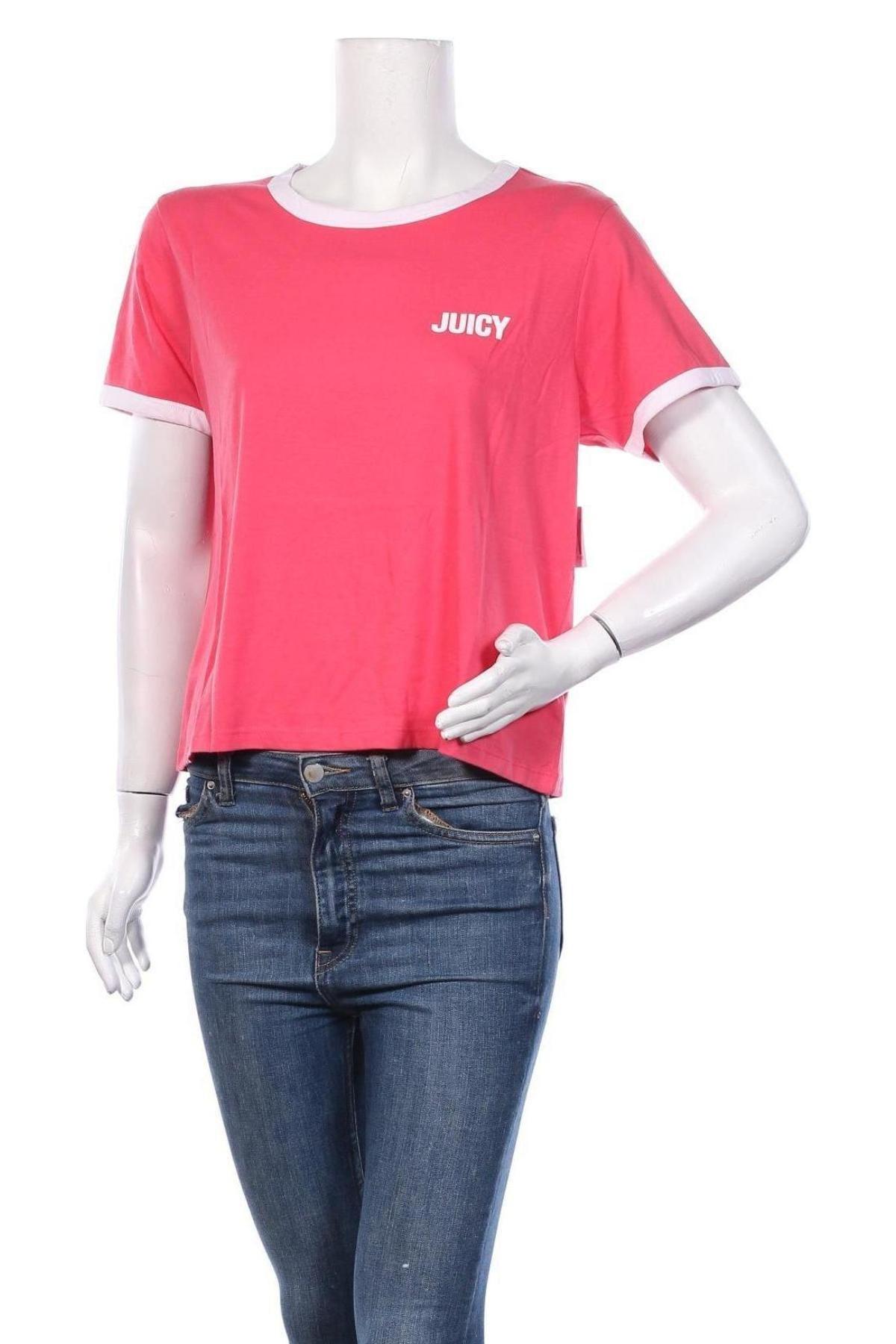 Дамска тениска Juicy Couture, Размер L, Цвят Розов, 60% памук, 40% полиестер, Цена 34,80лв.