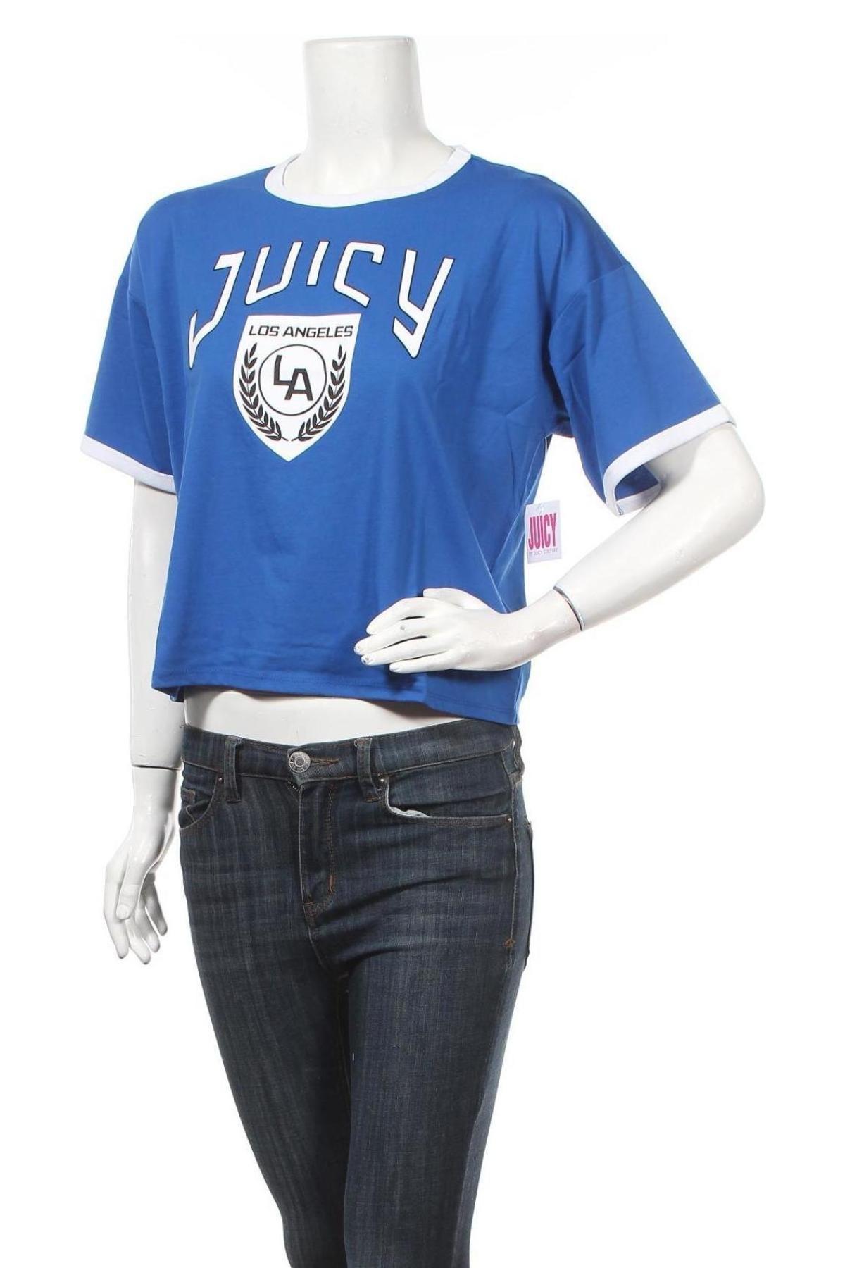 Дамска тениска Juicy Couture, Размер M, Цвят Син, 60% памук, 40% полиестер, Цена 38,28лв.