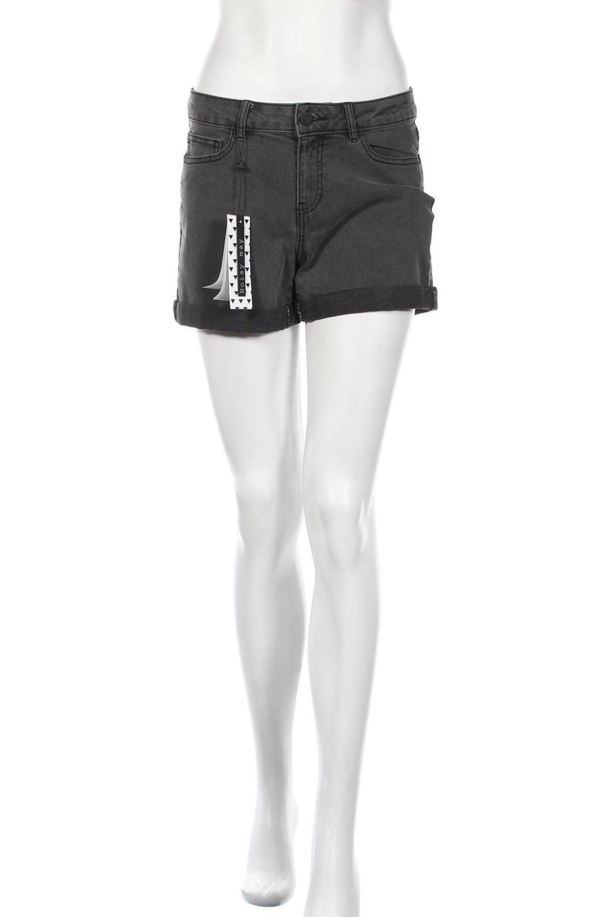 Γυναικείο κοντό παντελόνι Noisy May, Μέγεθος M, Χρώμα Γκρί, 79% βαμβάκι, 18% πολυεστέρας, 3% ελαστάνη, Τιμή 17,42€