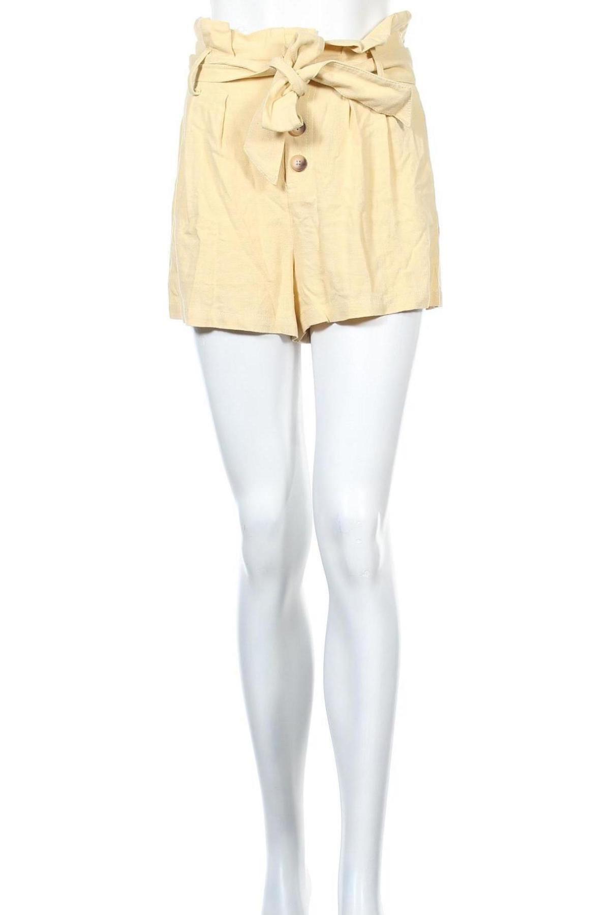 Γυναικείο κοντό παντελόνι Topshop, Μέγεθος S, Χρώμα Κίτρινο, 73% βισκόζη, 27% λινό, Τιμή 18,10€