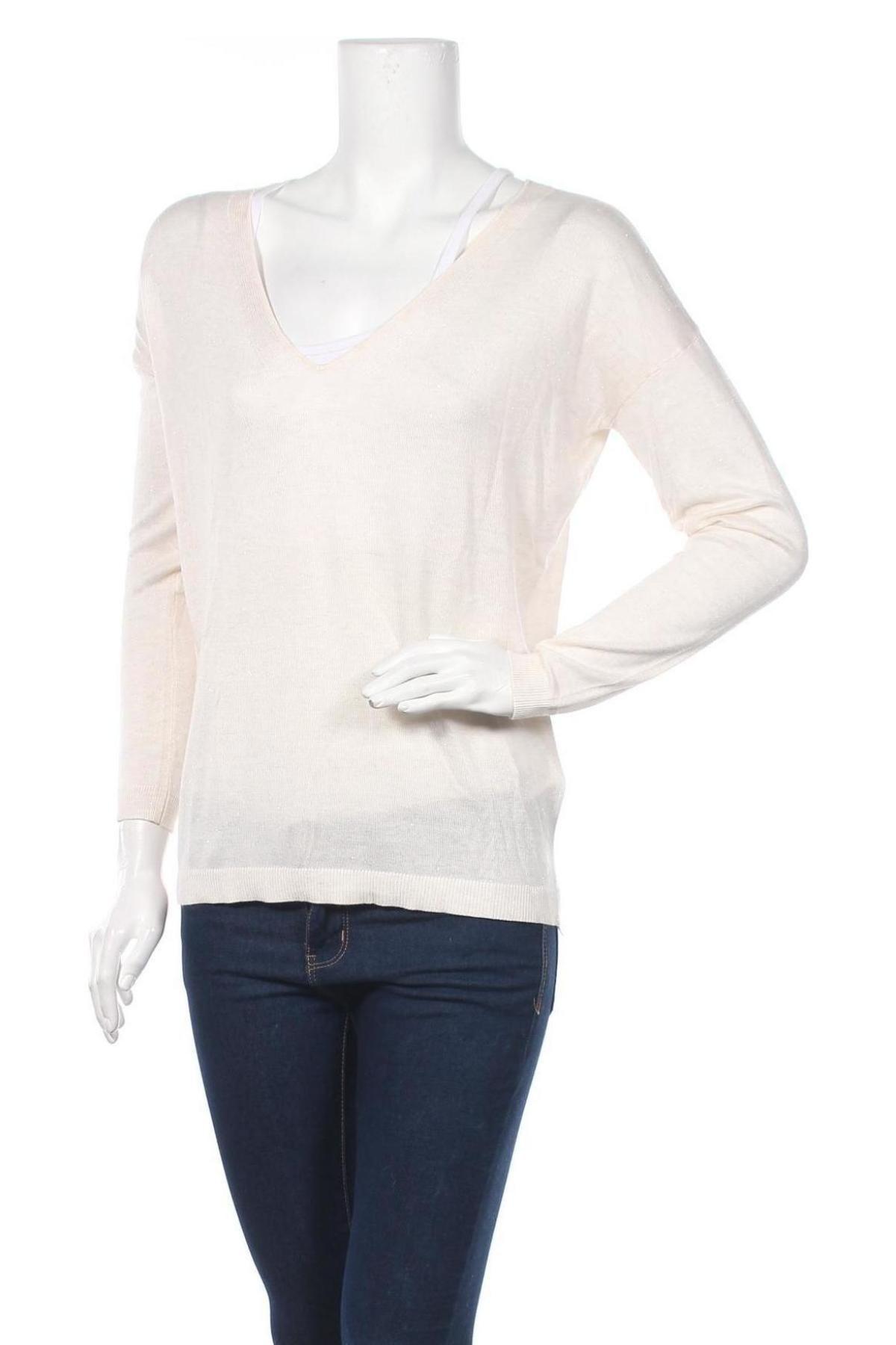 Γυναικείο πουλόβερ Etam, Μέγεθος M, Χρώμα  Μπέζ, 62% βισκόζη, 37% πολυαμίδη, 1% μεταλλικά νήματα, Τιμή 6,40€