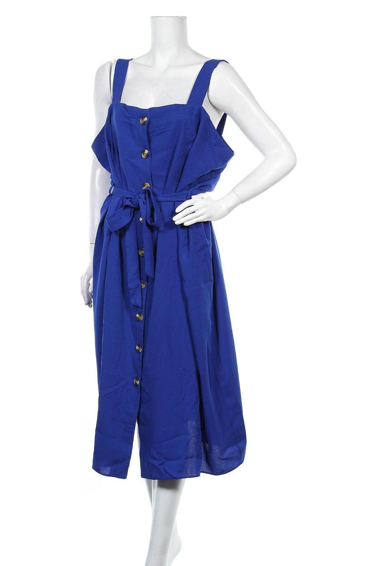 Рокля New Look, Размер 3XL, Цвят Син, 85% вискоза, 15% лен, Цена 43,40лв.