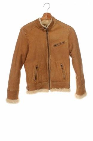 Детско кожено палто Massimo Dutti, Размер 12-13y/ 158-164 см, Цвят Бежов, Естествена кожа, Цена 130,42лв.