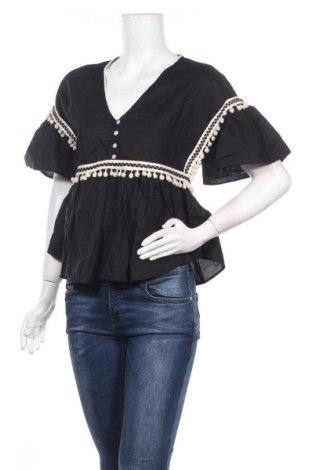 Дамска блуза Mango, Размер S, Цвят Черен, 63% лен, 37% памук, Цена 16,00лв.