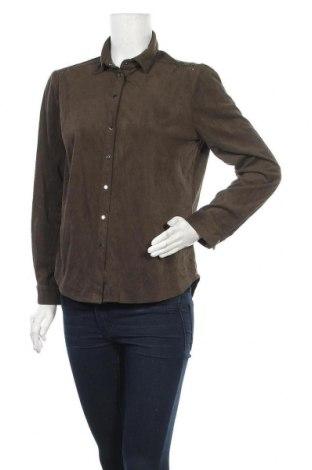 Дамска риза Zara, Размер L, Цвят Зелен, 88% полиестер, 12% еластан, Цена 21,00лв.