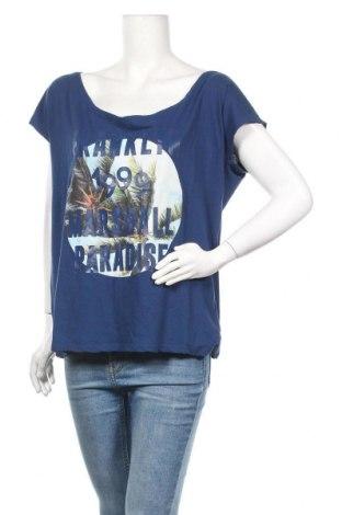 Дамска блуза Franklin & Marshall, Размер L, Цвят Син, 50% памук, 50% лен, Цена 30,40лв.