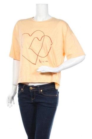 Γυναικείο t-shirt Pieces, Μέγεθος M, Χρώμα Πορτοκαλί, Τιμή 6,20€