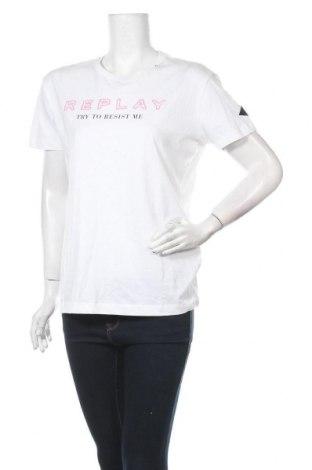 Дамска тениска Replay, Размер M, Цвят Бял, Памук, Цена 58,50лв.