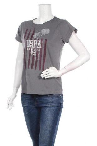 Дамска тениска U.S. Polo Assn., Размер L, Цвят Сив, Памук, Цена 47,40лв.