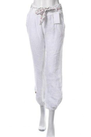 Γυναικείο παντελόνι Made In Italy, Μέγεθος S, Χρώμα Λευκό, Λινό, Τιμή 11,52€