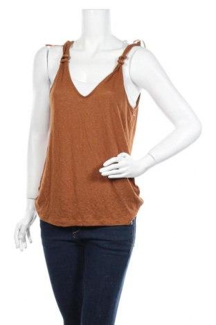 Γυναικείο αμάνικο μπλουζάκι Etam, Μέγεθος M, Χρώμα Καφέ, Λινό, βισκόζη, Τιμή 6,20€