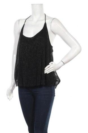 Γυναικείο αμάνικο μπλουζάκι Jennyfer, Μέγεθος L, Χρώμα Μαύρο, 54% μεταλλικά νήματα, 46% πολυεστέρας, Τιμή 6,43€