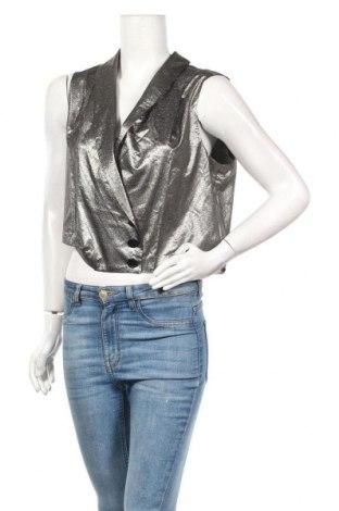 Дамски елек La Mode Est A Vous, Размер L, Цвят Сребрист, 76% полиестер, 24% метални нишки, Цена 14,70лв.