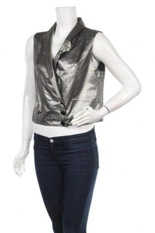 Дамски елек La Mode Est A Vous, Размер L, Цвят Сребрист, 76% полиестер, 24% метални нишки, Цена 23,52лв.