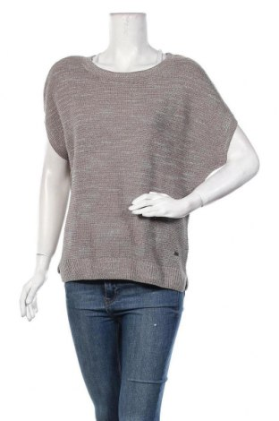 Дамски пуловер Women by Tchibo, Размер L, Цвят Сив, 74% памук, 16% полиакрил, 6% полиестер, 4% метални нишки, Цена 7,25лв.