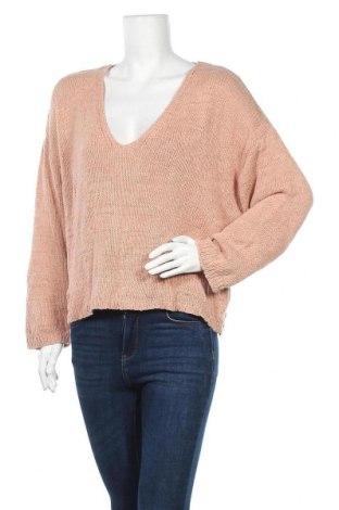 Дамски пуловер Zara, Размер L, Цвят Бежов, 88% акрил, 12% лен, Цена 34,91лв.