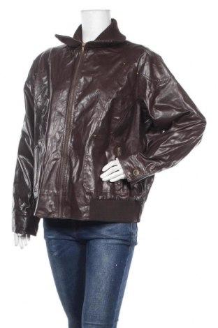 Дамско кожено яке, Размер 3XL, Цвят Кафяв, Еко кожа, Цена 24,83лв.