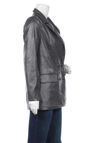 Дамско кожено яке Missguided, Размер S, Цвят Сив, Еко кожа, Цена 19,75лв.