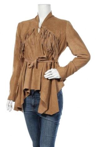 Дамско кожено яке True Religion, Размер M, Цвят Кафяв, Естествен велур, Цена 291,75лв.