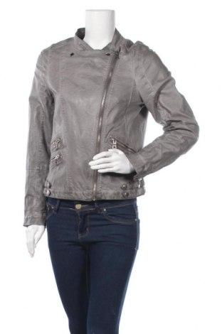 Дамско кожено яке Yessica, Размер L, Цвят Сив, Еко кожа, Цена 11,09лв.