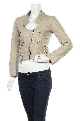 Дамско кожено яке Zara, Размер S, Цвят Бежов, Естествена кожа, Цена 67,84лв.