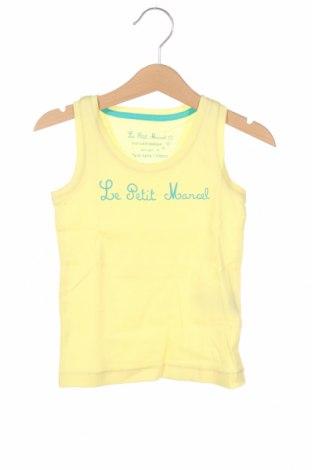 Μπλουζάκι αμάνικο παιδικό Little Marcel, Μέγεθος 2-3y/ 98-104 εκ., Χρώμα Κίτρινο, Βαμβάκι, Τιμή 6,20€