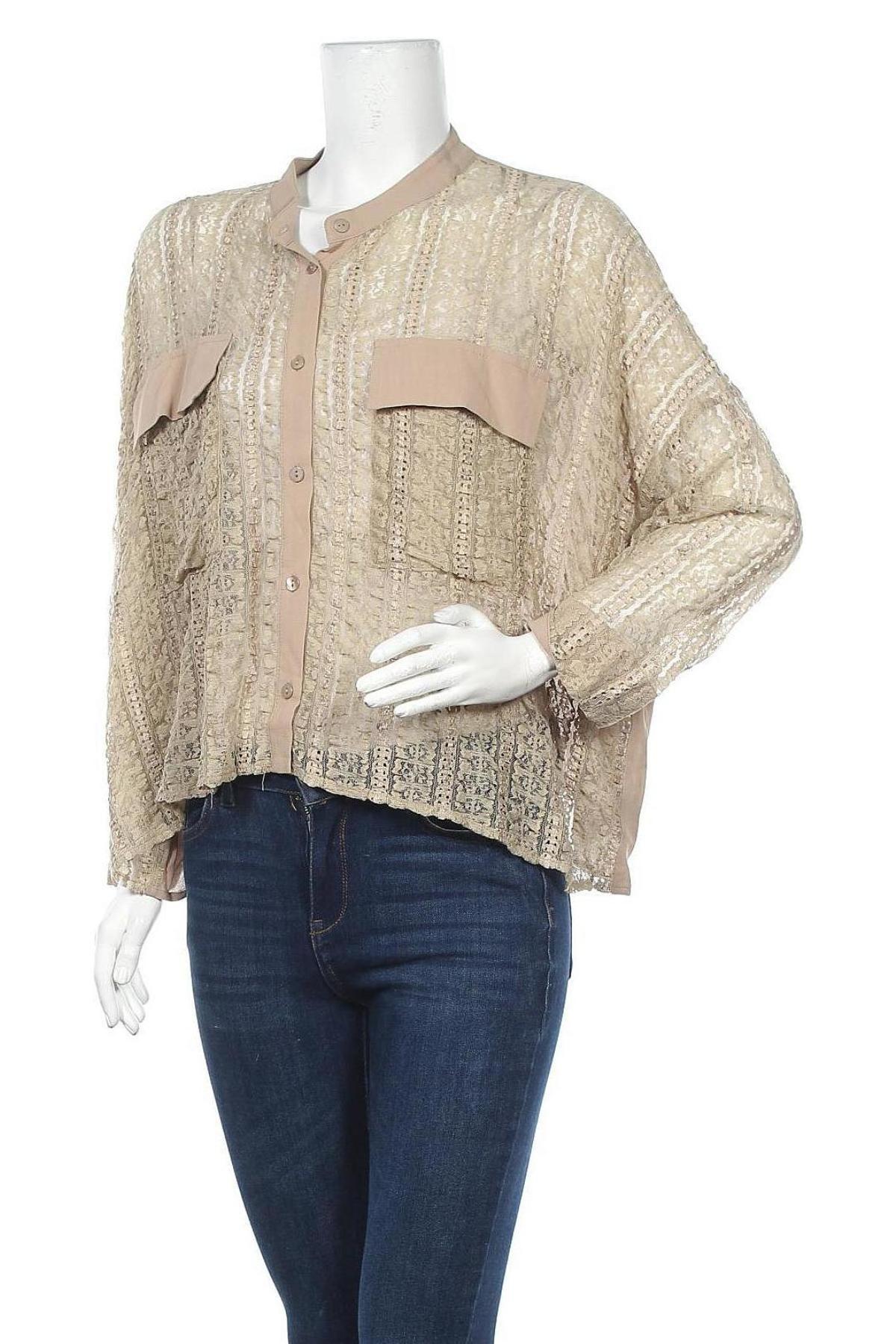 Дамска риза Lauren Vidal, Размер M, Цвят Бежов, 65% полиамид, 25% вискоза, 10% еластан, Цена 89,25лв.