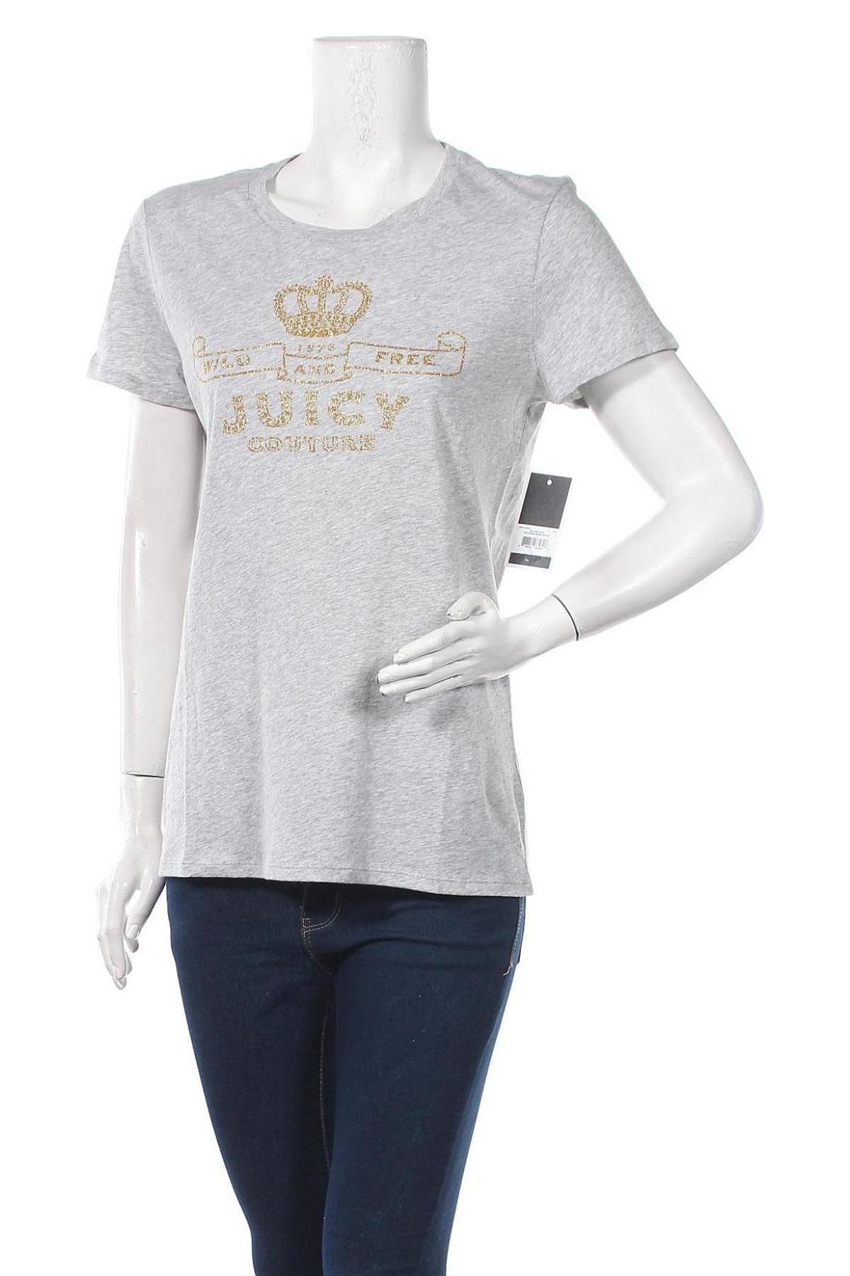 Дамска тениска Juicy Couture, Размер L, Цвят Сив, 100% памук, Цена 37,20лв.