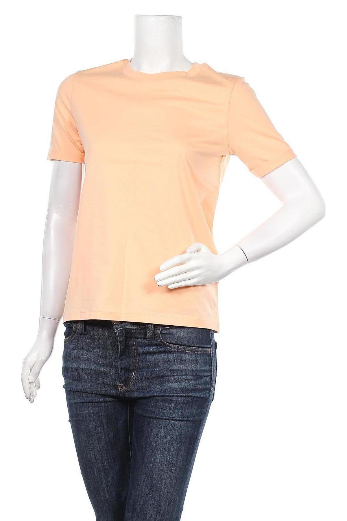 Дамска тениска Pieces, Размер XS, Цвят Оранжев, Памук, Цена 18,85лв.