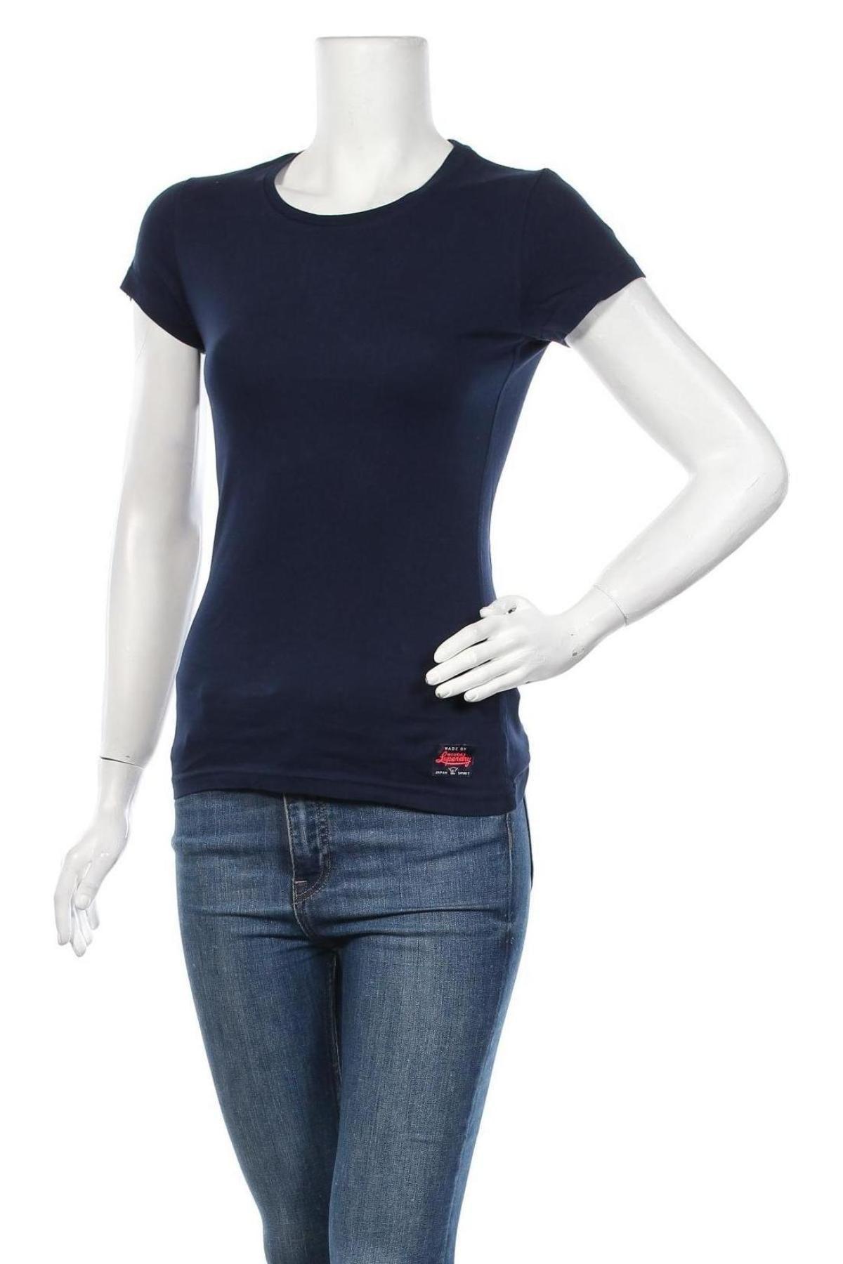 Дамска тениска Superdry, Размер XS, Цвят Син, 100% памук, Цена 51,35лв.