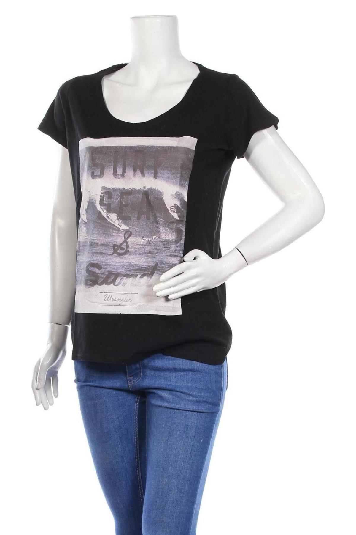 Дамска тениска Wrangler, Размер M, Цвят Черен, Памук, Цена 44,25лв.