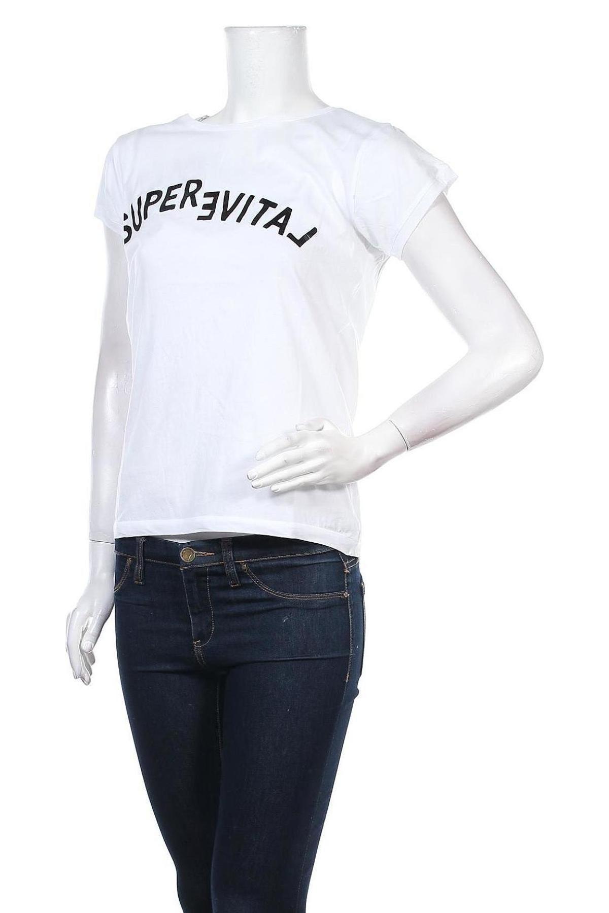 Дамска тениска Yaya, Размер XS, Цвят Бял, Памук, Цена 21,42лв.