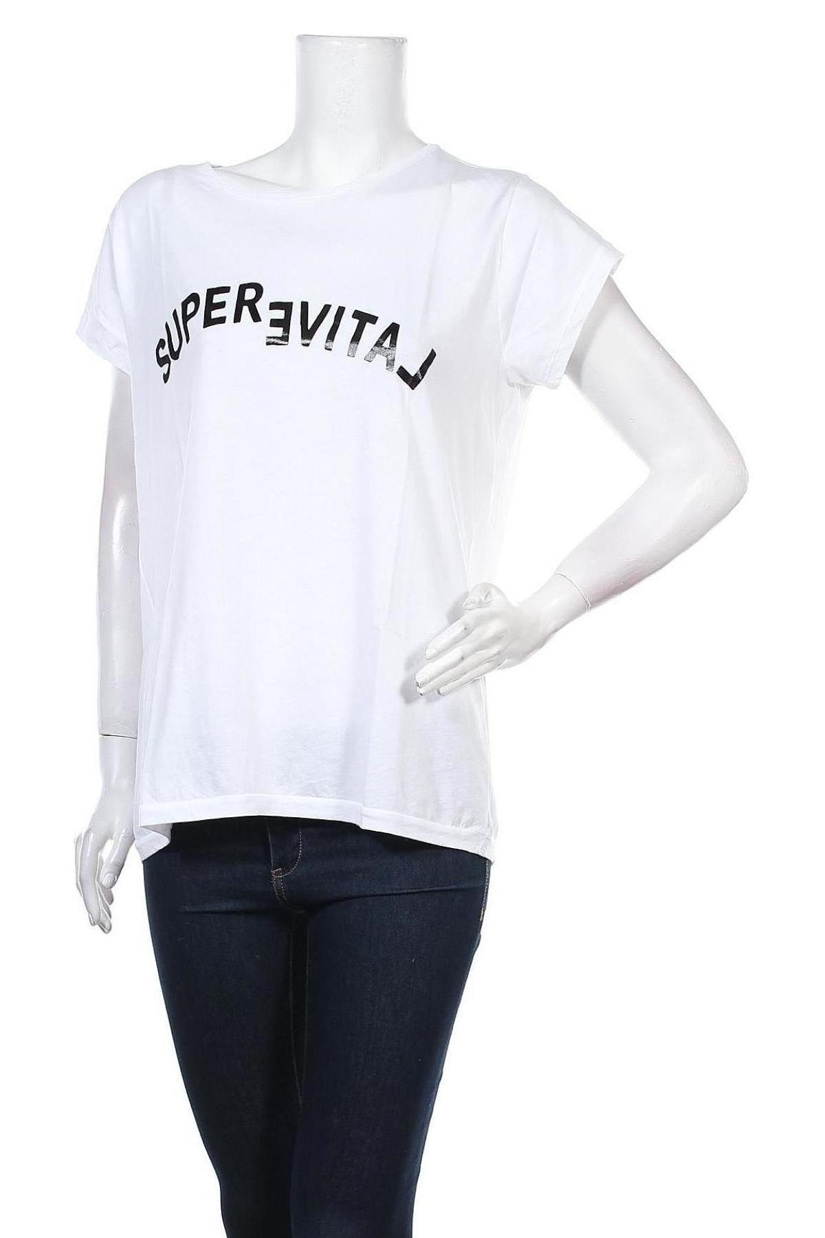 Дамска тениска Yaya, Размер L, Цвят Бял, Памук, Цена 21,42лв.