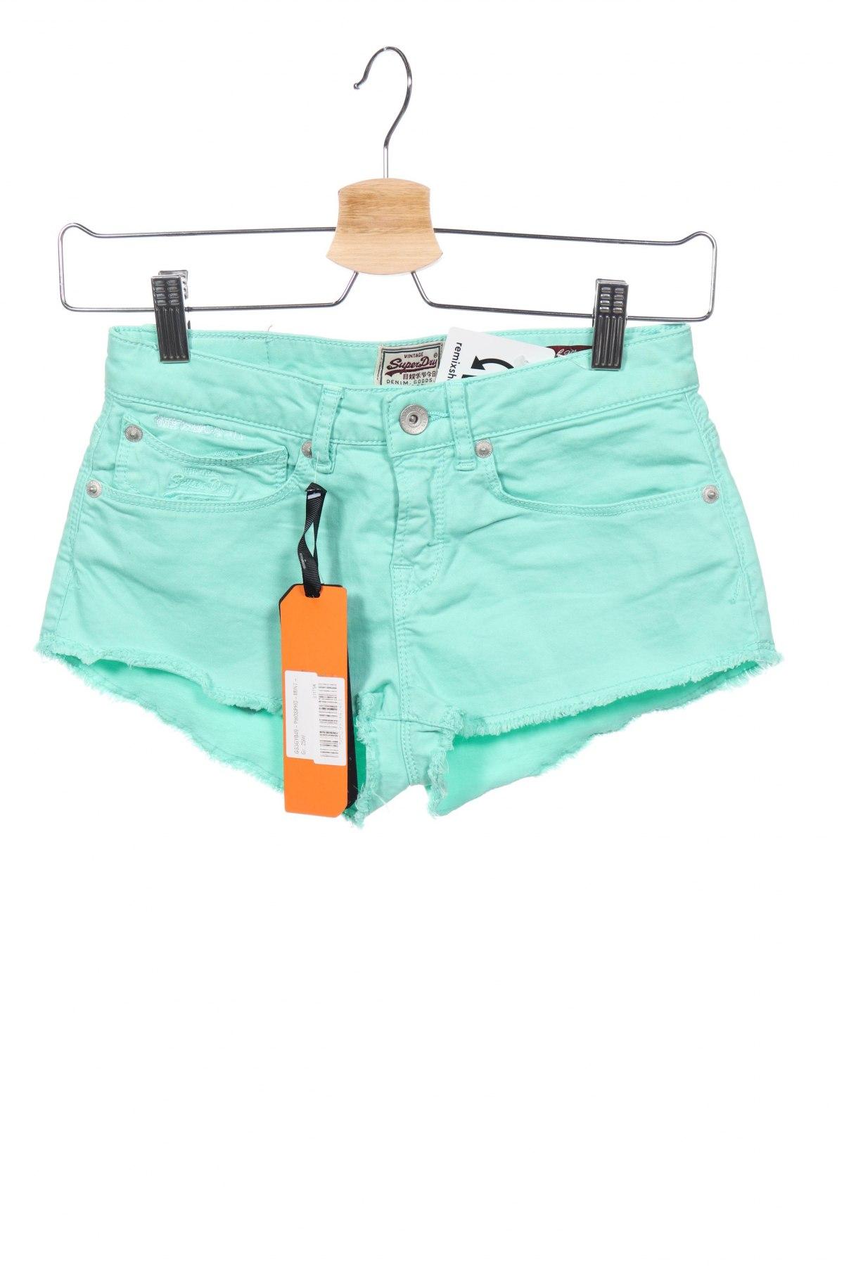 Γυναικείο κοντό παντελόνι Superdry, Μέγεθος XS, Χρώμα Πράσινο, 96% βαμβάκι, 4% ελαστάνη, Τιμή 18,25€