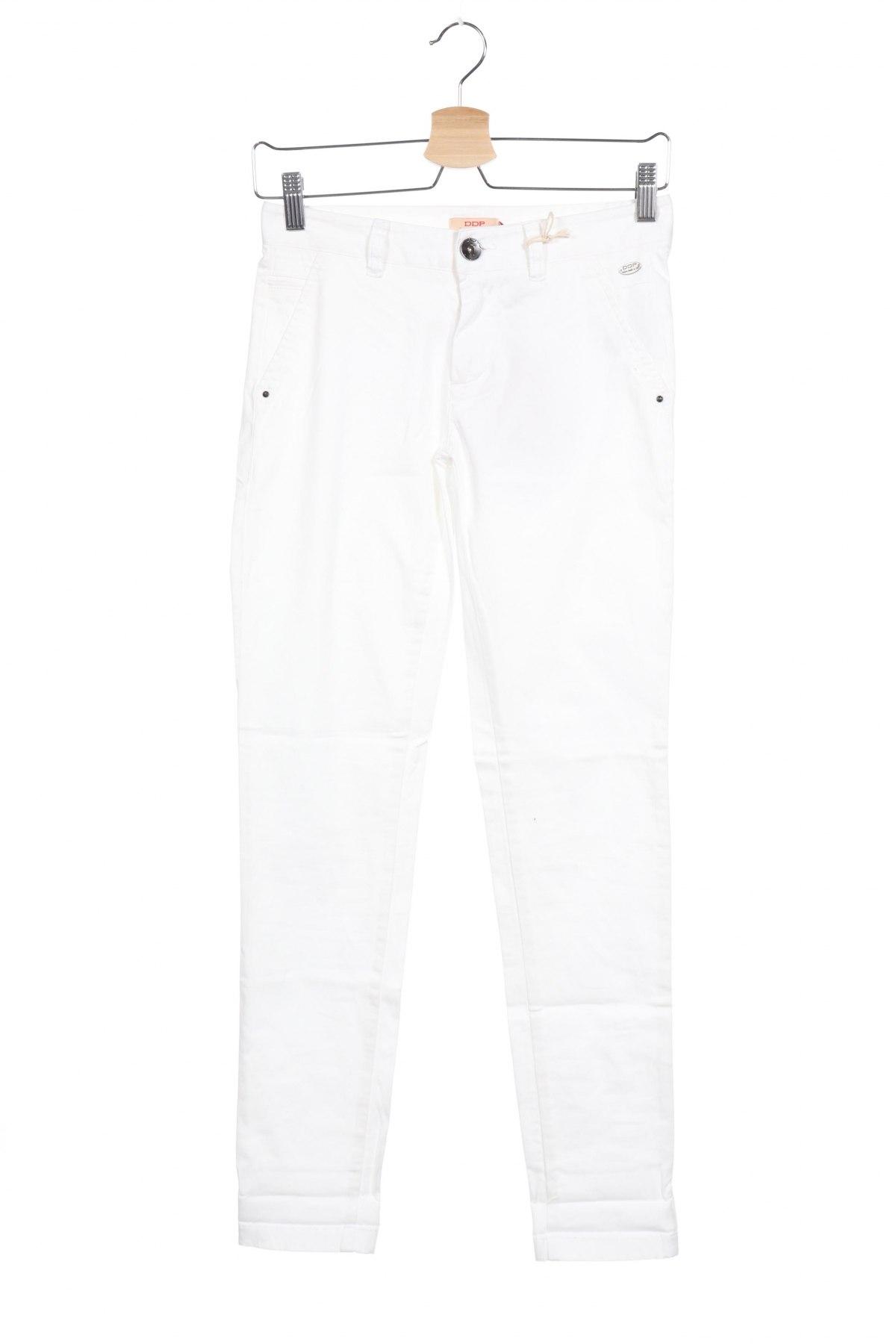 Дамски панталон DDP, Размер XXS, Цвят Бял, 97% памук, 3% еластан, Цена 17,80лв.