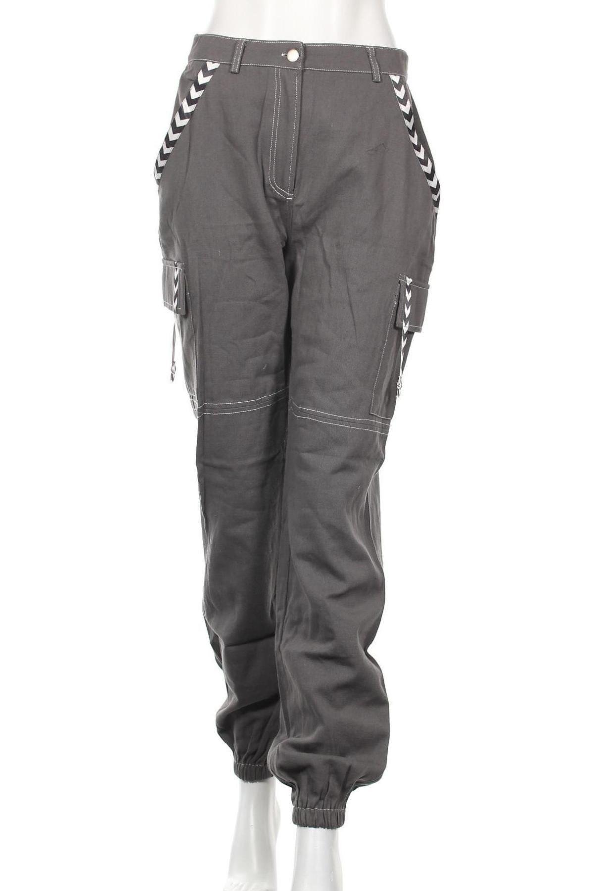 Дамски панталон Missguided, Размер M, Цвят Сив, Памук, Цена 12,32лв.