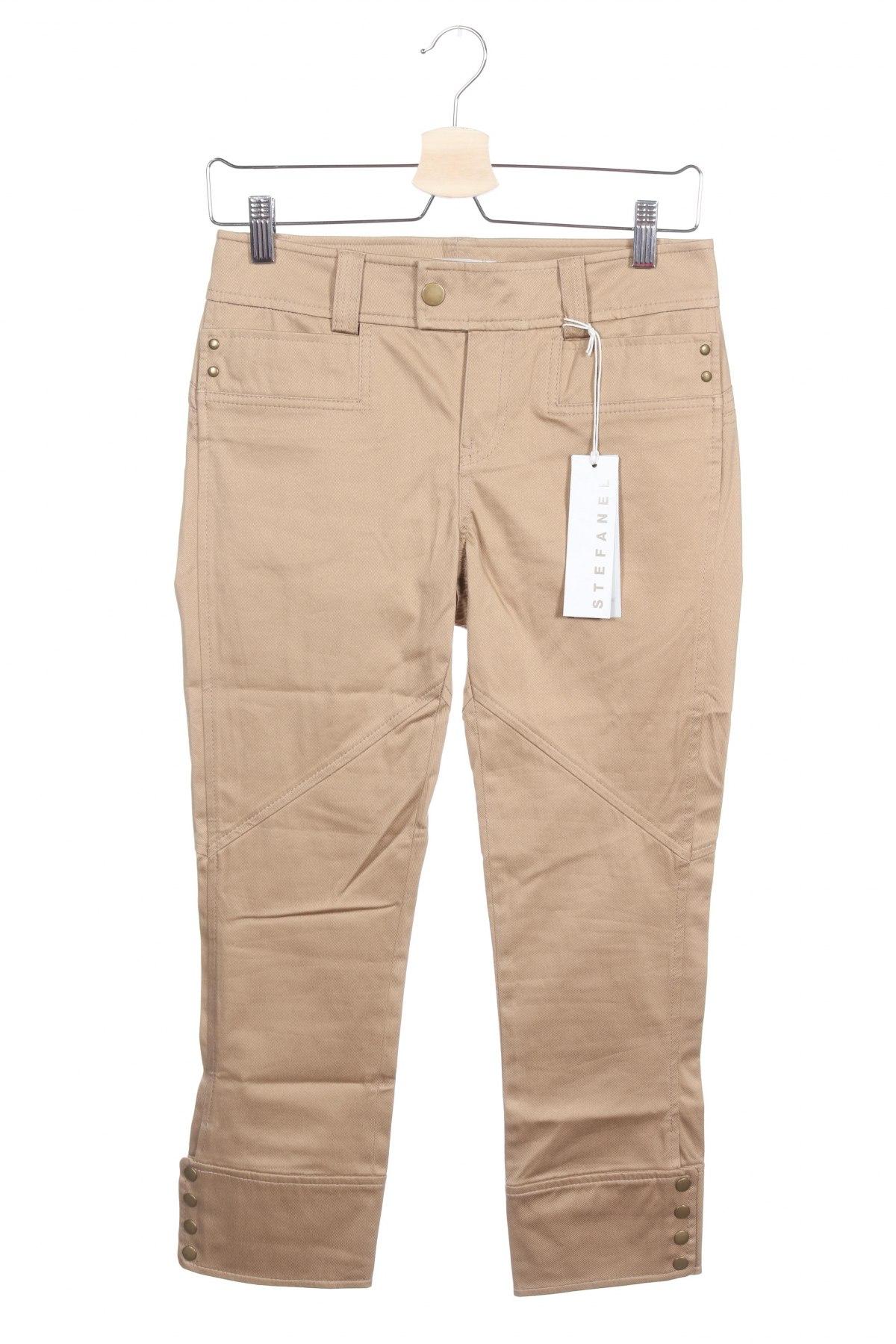 Дамски панталон Stefanel, Размер XS, Цвят Бежов, 97% памук, 3% еластан, Цена 27,51лв.