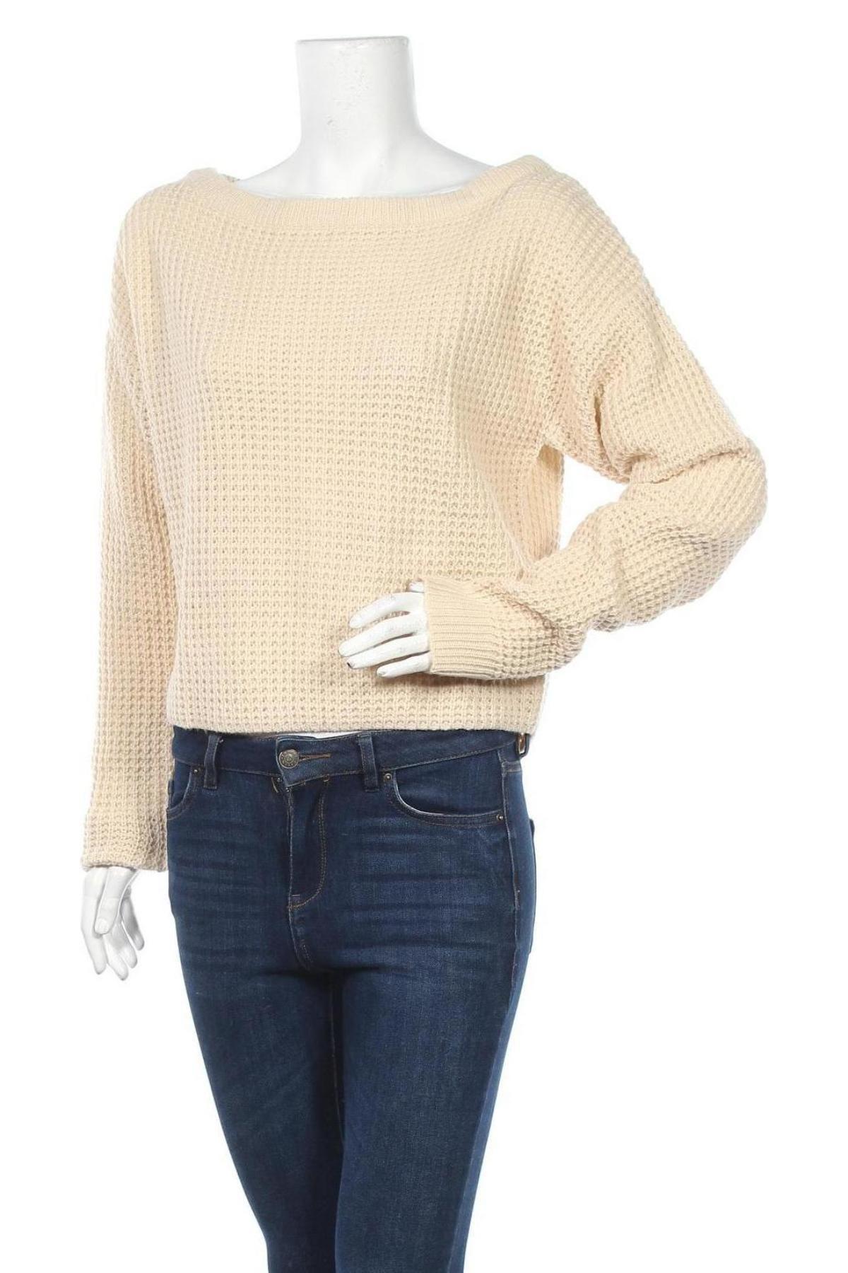 Дамски пуловер Missguided, Размер XS, Цвят Бежов, Акрил, Цена 12,00лв.