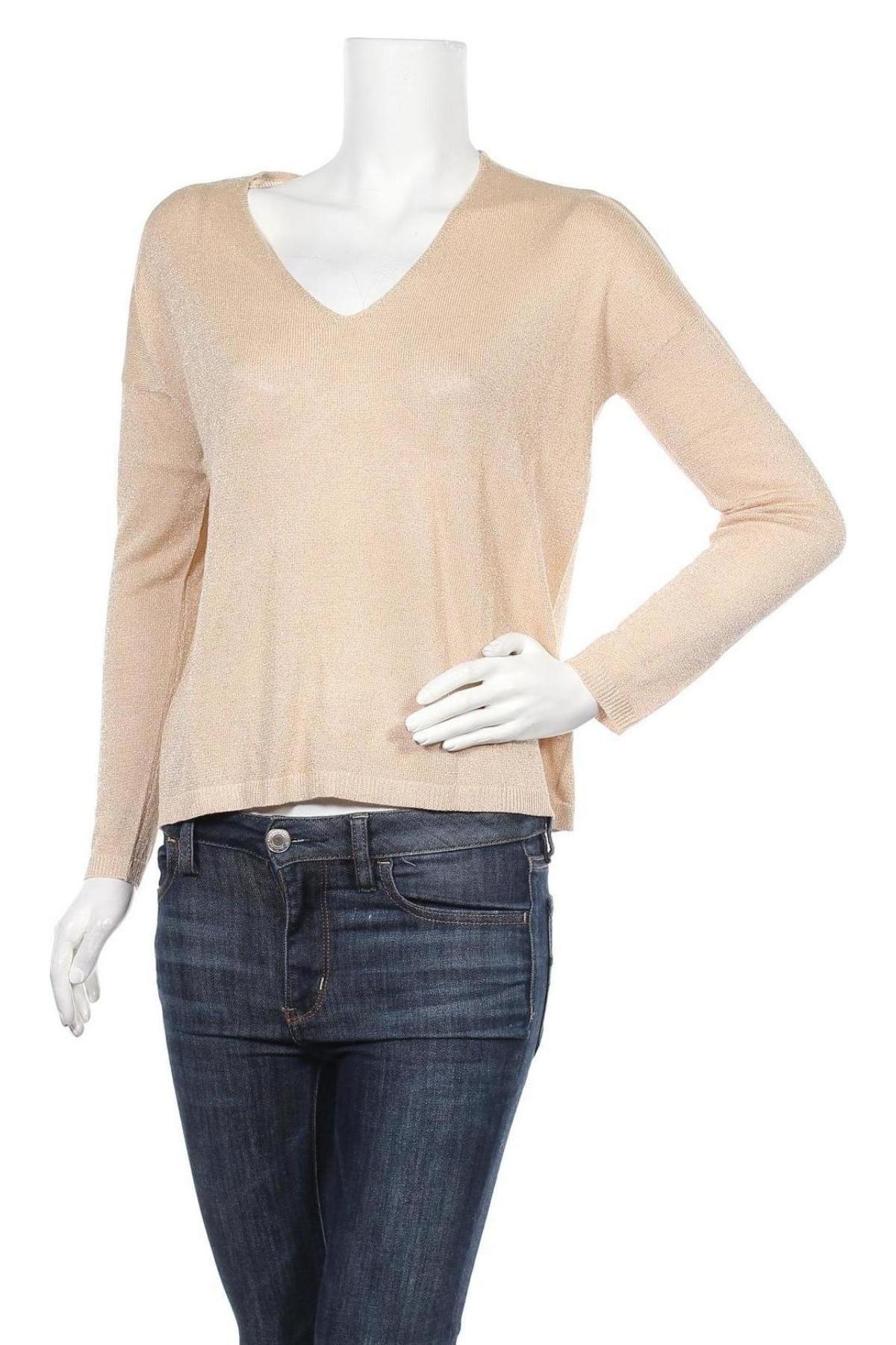 Дамски пуловер ONLY, Размер XS, Цвят Бежов, 80% вискоза, 20% метални нишки, Цена 39,00лв.