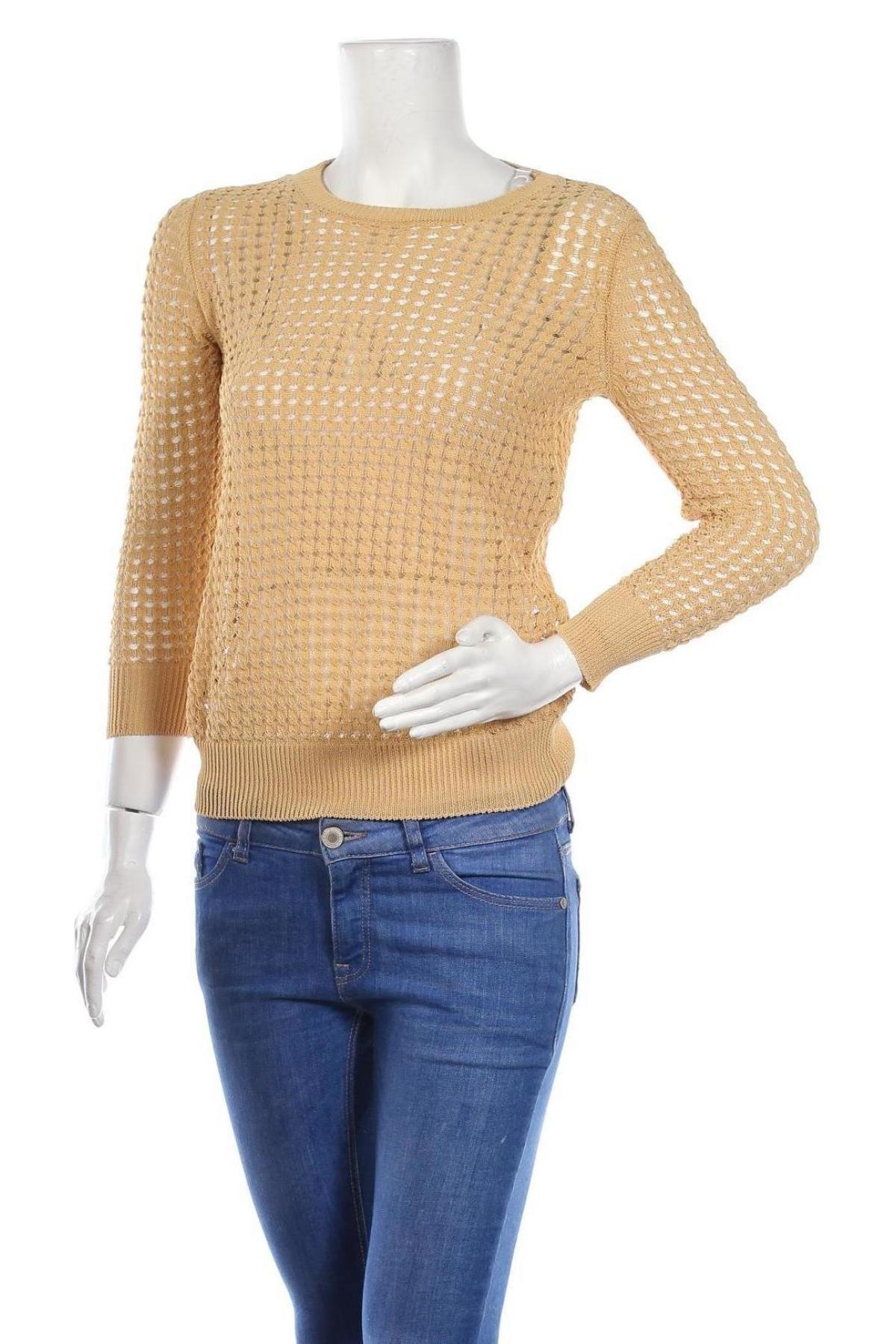 Дамски пуловер United Colors Of Benetton, Размер XS, Цвят Бежов, 73% памук, 27% полиамид, Цена 21,62лв.