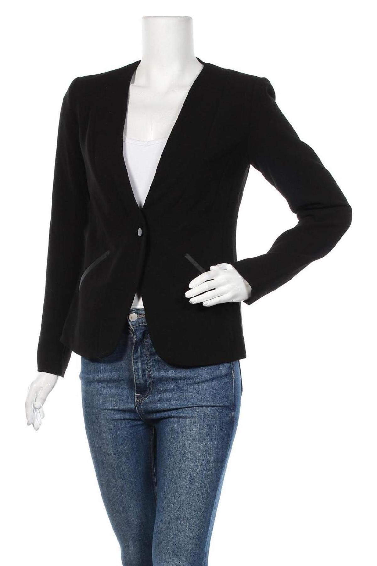 Дамско сако Top Secret, Размер S, Цвят Черен, 63% полиестер, 27% вискоза, 7% памук, 3% еластан, Цена 19,58лв.