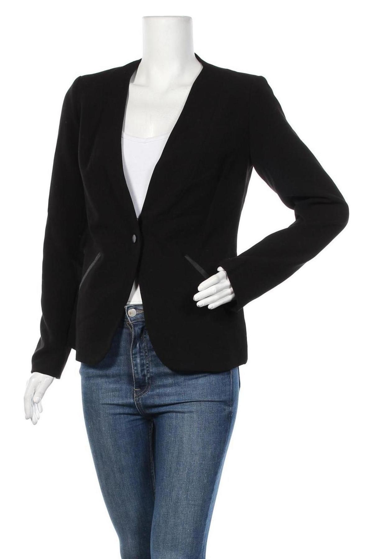 Дамско сако Top Secret, Размер M, Цвят Черен, 63% полиестер, 27% вискоза, 7% памук, 3% еластан, Цена 19,58лв.
