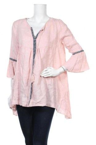 Γυναικεία μπλούζα Made In Italy, Μέγεθος S, Χρώμα Ρόζ , Λινό, Τιμή 7,42€