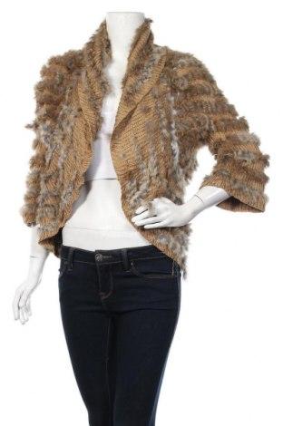 Дамска жилетка, Размер M, Цвят Кафяв, Естествен косъм, текстил, Цена 65,21лв.
