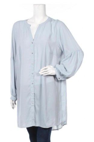 Γυναικείο πουκάμισο Zizzi, Μέγεθος XXL, Χρώμα Μπλέ, Πολυεστέρας, Τιμή 12,15€