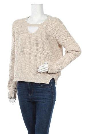 Дамски пуловер, Размер L, Цвят Бежов, 95% акрил, 3% полиестер, 2% метални нишки, Цена 8,82лв.