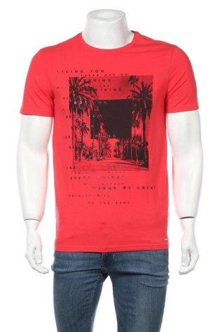 Ανδρικό t-shirt Gaudi, Μέγεθος L, Χρώμα Κόκκινο, 95% βαμβάκι, 5% ελαστάνη, Τιμή 26,47€