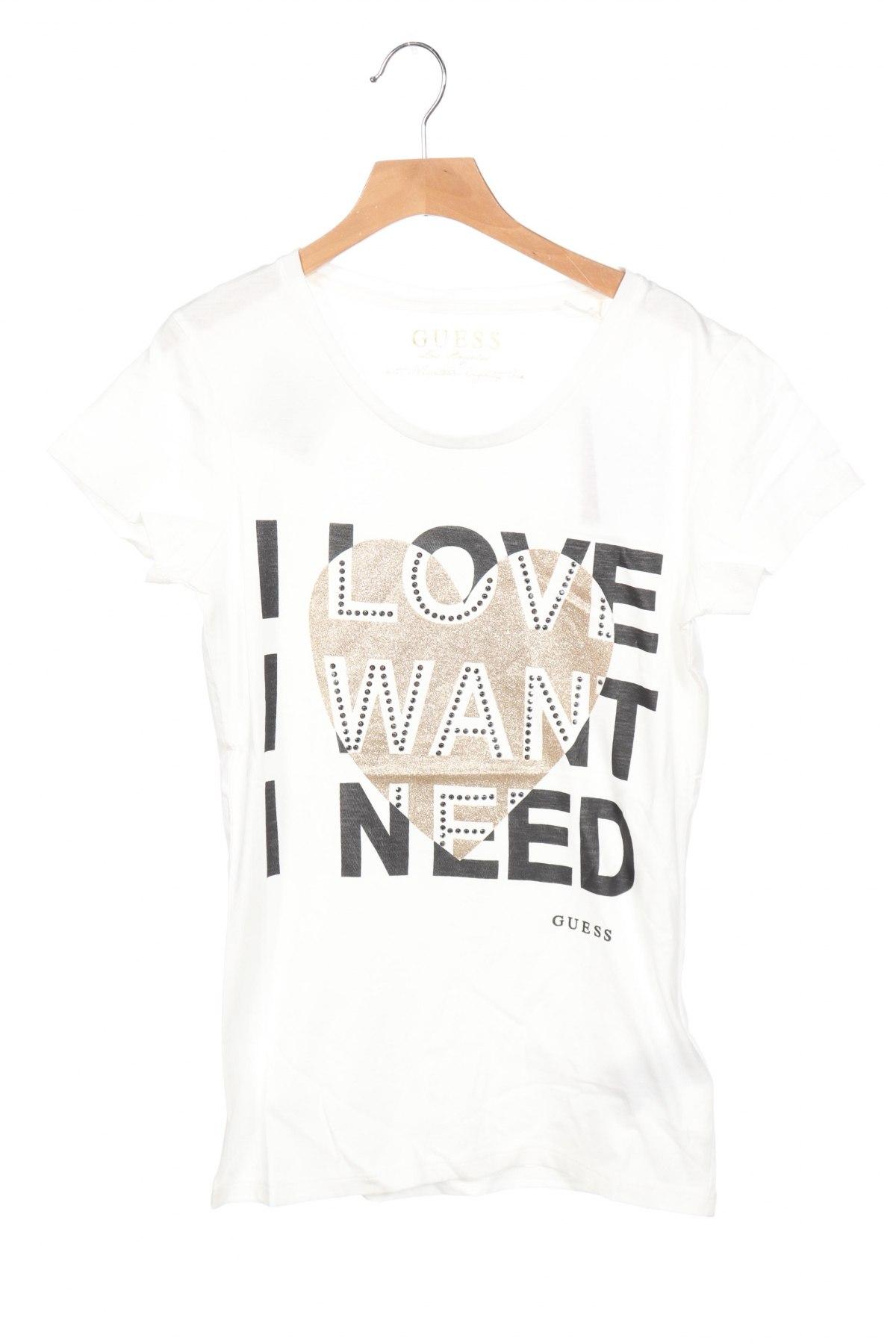 Дамска тениска Guess, Размер XS, Цвят Бял, Памук, Цена 51,00лв.