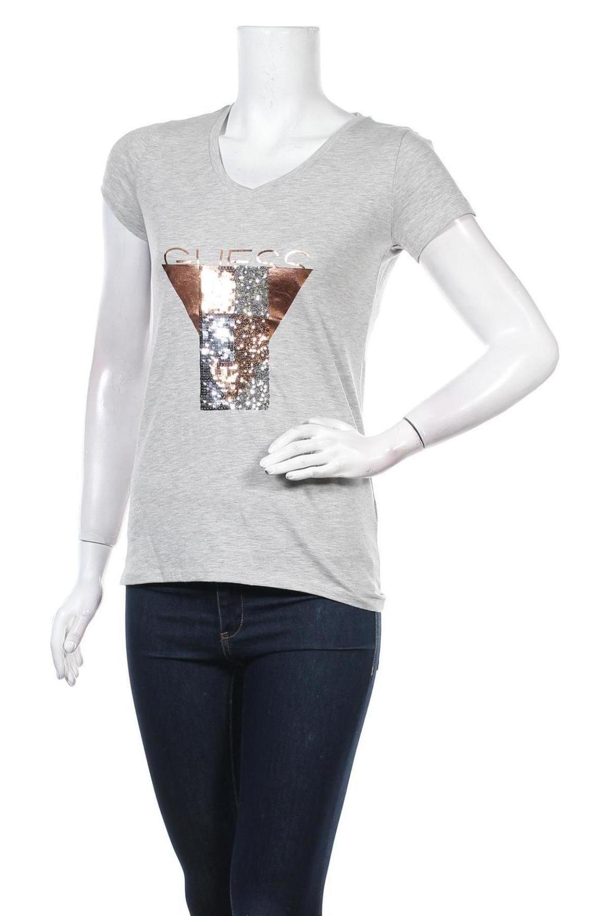 Дамска тениска Guess, Размер M, Цвят Сив, 95% памук, 5% еластан, Цена 50,70лв.